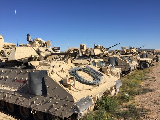 Bradley Fighting Vehicles are lined up during the Army Warfighting Assessment in October.