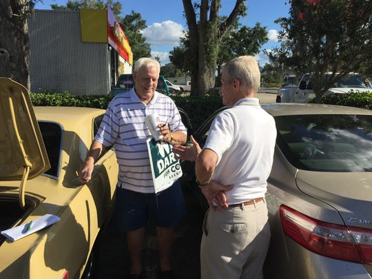 Orin Pelto a retired Michigan executive met Dartland in a McDonald's parking lot. By the end of the conversation he agreed to place a yard sign in his front yard in Chiefland.