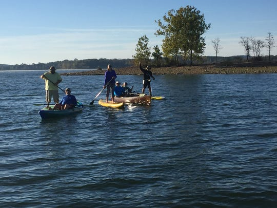 Support crews kept an eye on Jaden Hartley and Shane Perrin while they pedal boarded 24 hours on Table Rock Lake.
