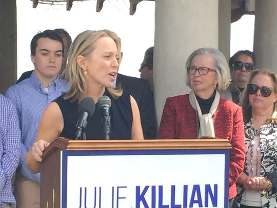 Rye City Councilwoman Julie Killian, pictured at  announcement