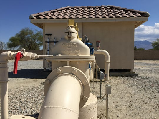 Pipes carry water from a well operated by the Coachella