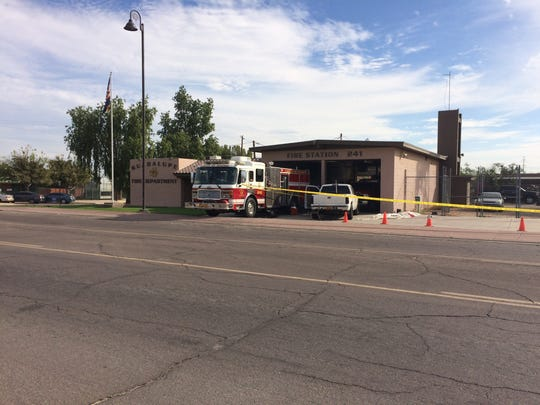 Crime tape crosses the front of the Guadalupe Fire Department on Oct. 28, 2016.