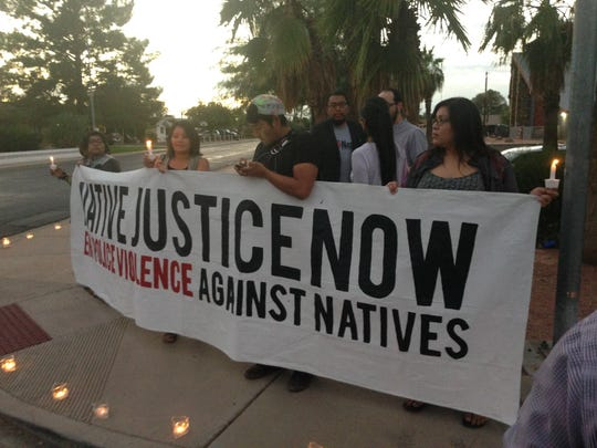 Members of the Bordertown Justice Coalition protest
