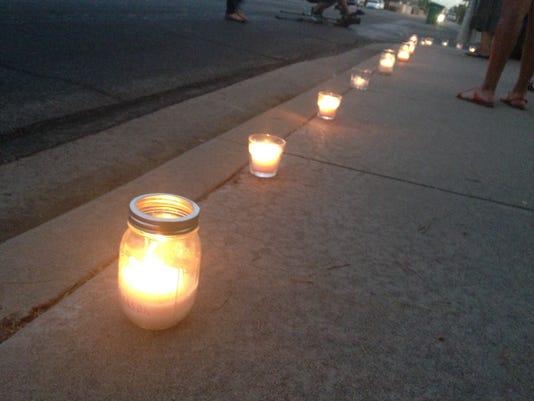 Candles at Bordertown Justice Coalition vigil