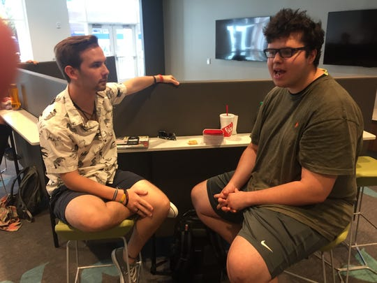 Anderson University students  Calvin Bowman, left, and Alex Collazo discussed the 2016 presidential election last week at the university's student center.