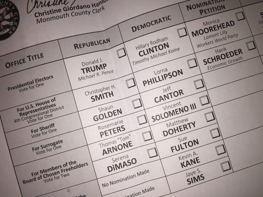 Sample ballot for Nov 8 2016 election