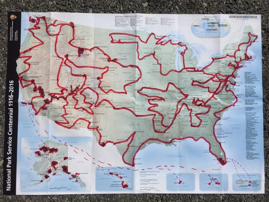 Mikah's map: a cross-country itinerary.