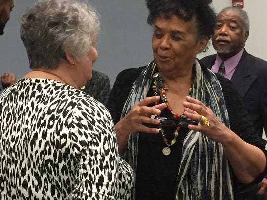 Dorie Ladner, a Hattiesburg native, greets other civil rights veterans Thursday at the University of the District of Columbia after the screening of  a documentary about her civil rights work in Mississippi.