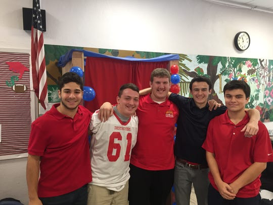 The Dunellen High School History Club organized the mock election. From left: juniors Michael Gedevani, Jon Desmelyk, Alex Dornbierer, Anthony Buccino and Conor McCrimmon.
