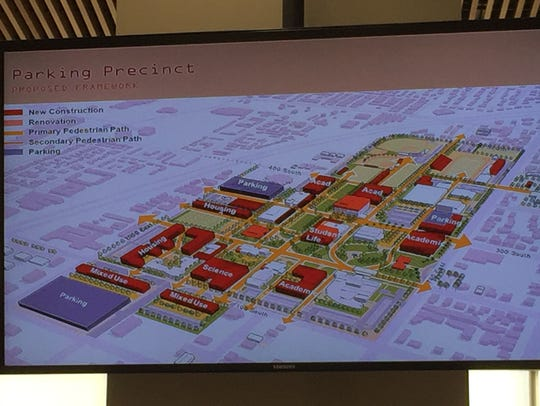 A proposed campus development plan shown by Dixie State