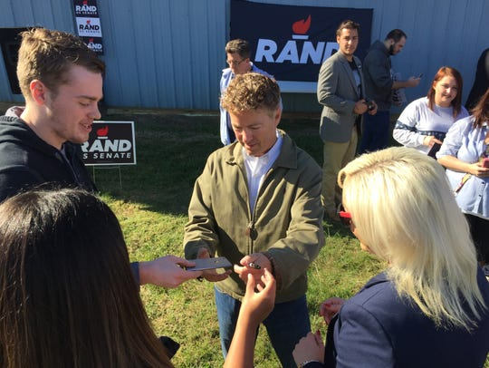 Rand Paul greets supporters at a rally Saturday.