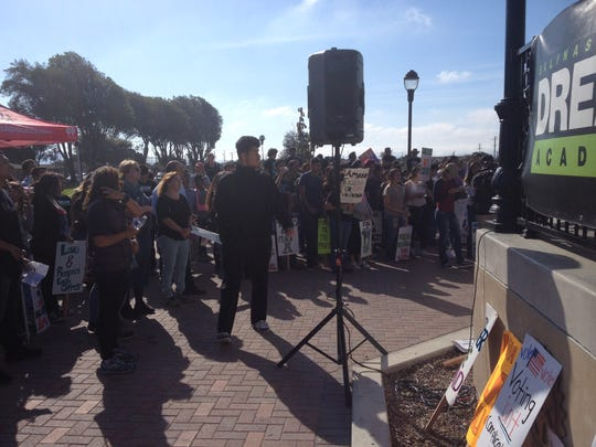 A crowd of about 400 formed a half circle around the park gazebo to listen to speakers Saturday at the Youth Empowerment March and Rally led by the Salinas Valley Dream Academy.