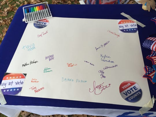 Jefferson High School students signed a poster after