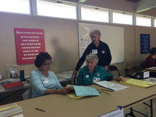 Poll workers in Salinas at St. Ansgar's Lutheran Church on Election Day 2016