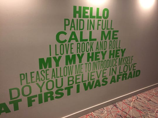 The walls of the hallway in the Asbury Hotel.