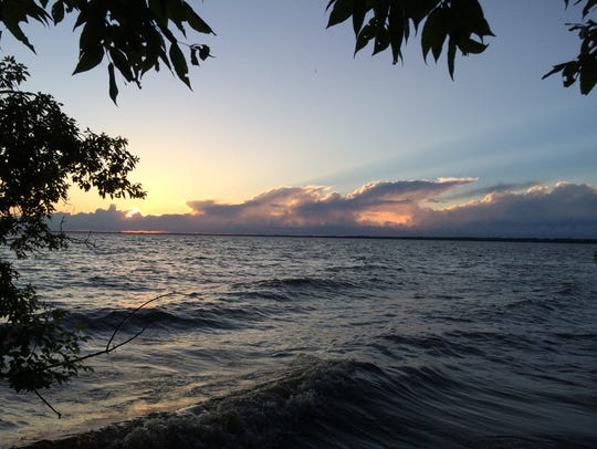 Lake Winnebago, which is about seven miles wide and