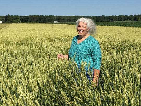 Deirdre Ortiz, a fellow of global research, who is known as Dr. Wheat, at Kellogg in Battle Creek. She is in a field of waxy wheat outside of Frankenmuth.