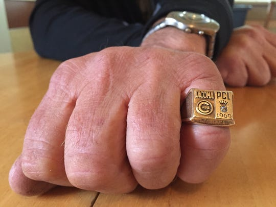 Rick Bladt shows off his Pacific Coast League championship ring he won with the Tacoma Cubs in 1969. He was called up from the Triple-A affiliate in June and spent less than a month with the Chicago Cubs.