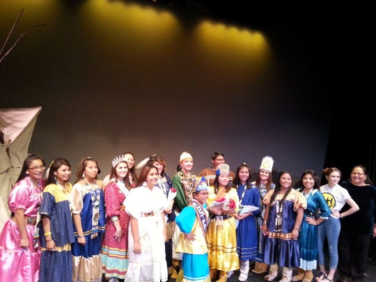 "RHS Indian club members and special guests;  Ruidoso Middle School Indian Princess Rose Enjady, Miss Mescalero Megan Byers, Miss New Mexico United States Vanessa Hernandez and Khaliya Kimberlie ""The Voice"" contestant."