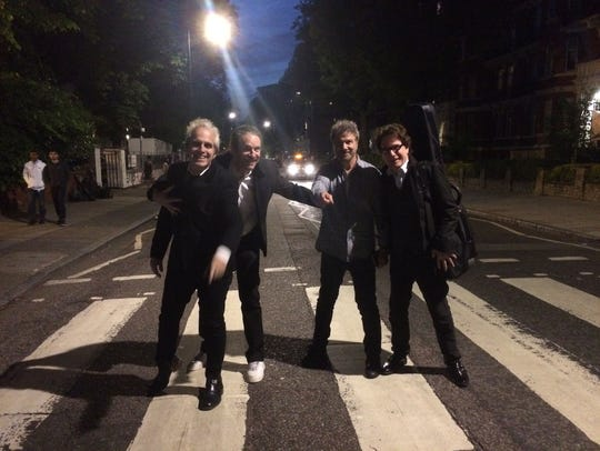 The Weeklings on Abbey Road -- at night.