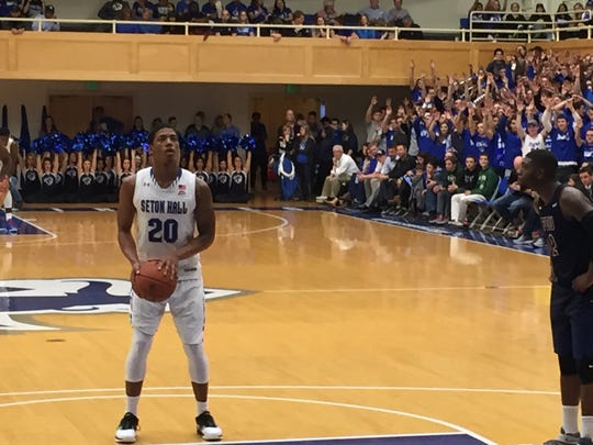 Seton Hall's Desi Rodriguez squares up for a free throw