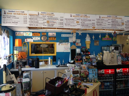Located inside Sanibel Gear, Sanibel Oasis Cafe East End Deli serves sandwiches, Gulf shrimp and Cuban beans and rice.