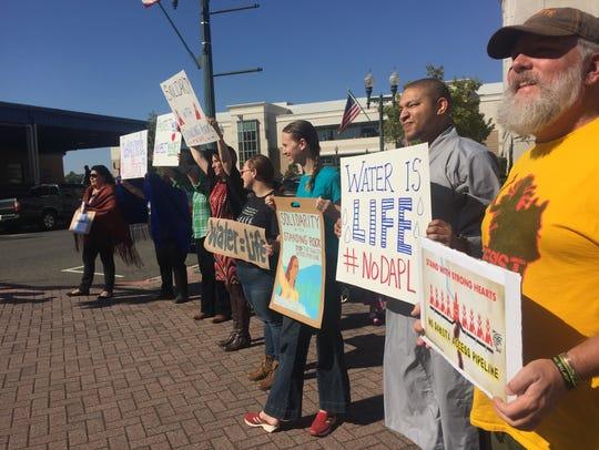 About a dozen protestors of the Dakota Access Pipeline