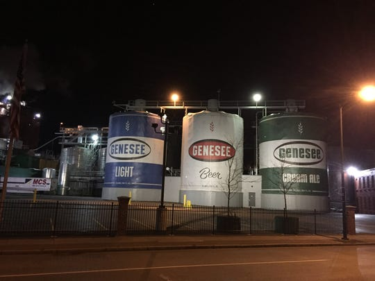Storage tanks at the Genesee Brewery were once made to resemble giant beer cans. The sleeves have been removed as the brewery is renovated.