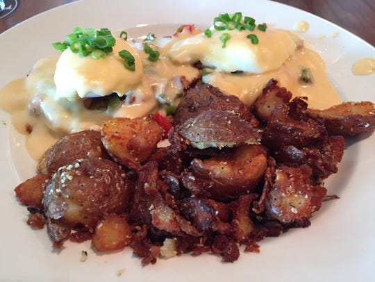 The sausage eggs Benedict at Gilroy's comes with a
