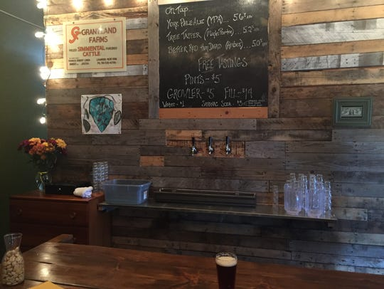 The cozy tasting room at Dublin Corners Farm Brewery