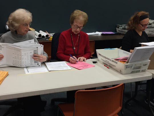 Broome County Board of Elections employees count absentee and affidavit ballots for the 7th District City Council race.