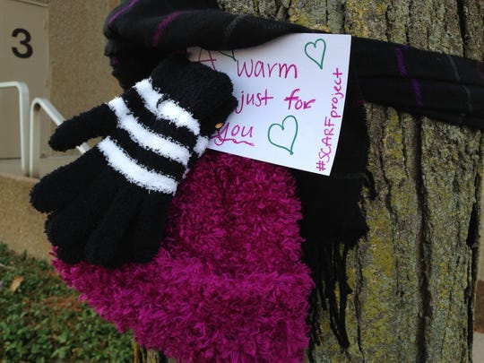 Ivy Tech students scatted hats, gloves and scarves