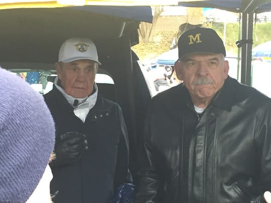 Dick Enberg and Dan Dierdorf were together again at a tailgate party outside Michigan Stadium on Saturday