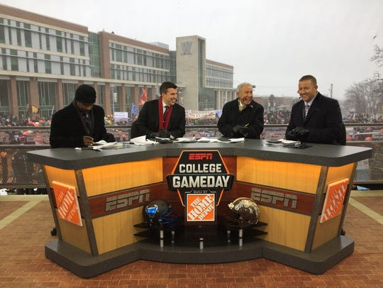"ESPN's ""College GameDay"" featuring, from left, Desmond Howard, Rece Davis, Lee Corso and Kirk Herbstreit, broadcast live from Western Michigan on Nov. 19, 2016."