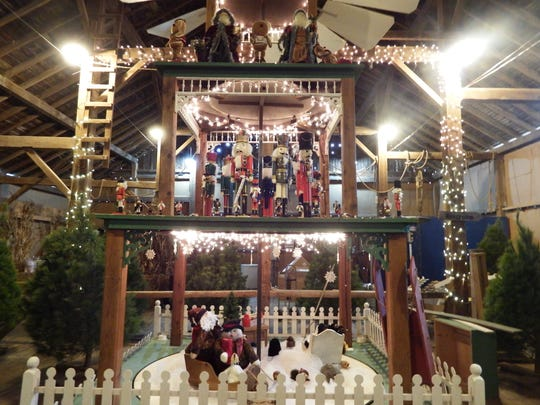 The Christmas pyramid is inside Tannenbaum Forest in
