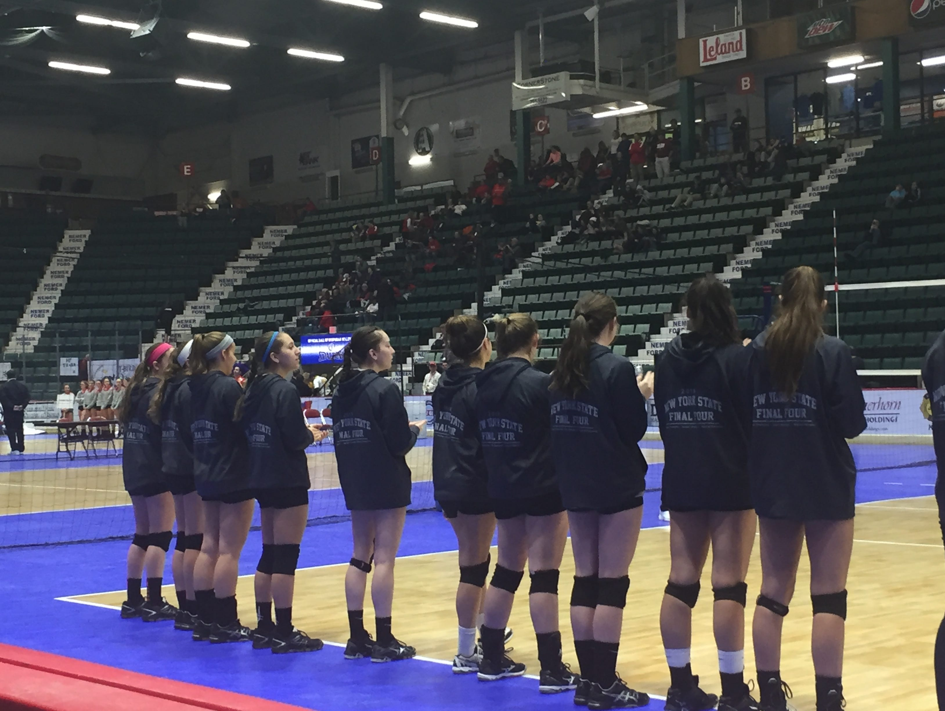 The Pawling High School volleyball players line up before the Class C state final