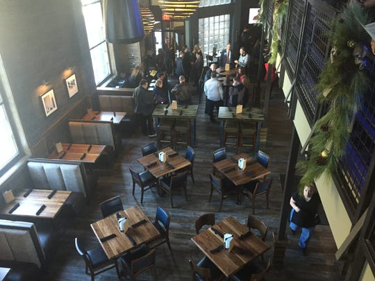 A view from the top floor of Bru Burger Bar, which opened in November in the former Greyhound bus terminal in Downtown Evansville.
