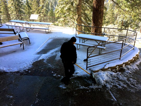 The Palm Springs Aerial Tramway Mountain Station received about 4 inches of snow on Tuesday, Jan. 9, 2018. Temperatures have since warmed up and the snow is melting fast, but there was still some white on the ground Saturday.