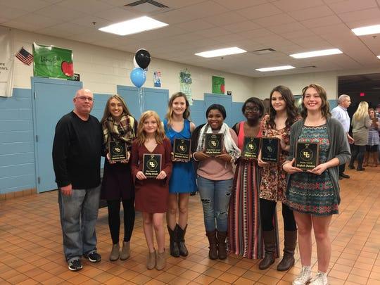 Union County Bravettes Volleyball JV Team. Left to right: Coach Leadingham,  Jasmine Owen, Hailey Arnett, Hannah Turner,  Ashyla Robinson,  Nikylah Long, Breelyn Garrett, Erykah Duncan.