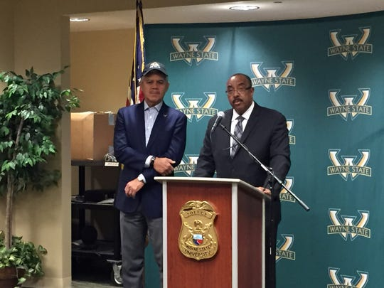 From left, Wayne State University president M. Roy Wilson and police chief Tony Holt.