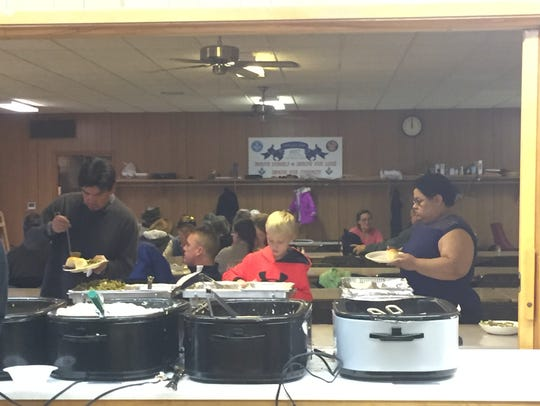 Food is served at the Southgate Masonic Lodge for the