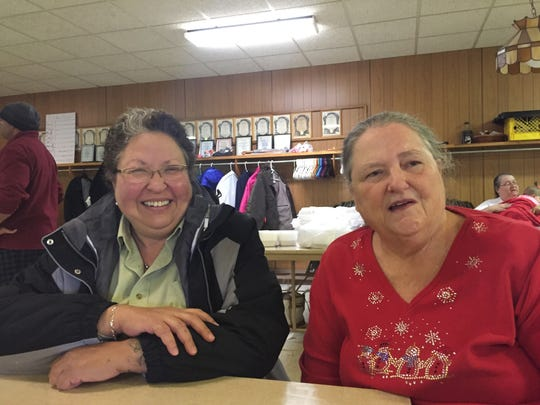 Char Carlson, left, and Dianne Molander, right, became friends at the South Des Moines Community Thanksgiving Dinner on Nov. 24, 2016.