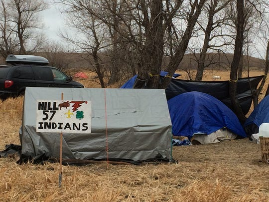 """Northcentral Montana residents are among the 7,000 camped at Standing Rock Sioux Reservation in North Dakota, protesting the Dakota Pipeline. The groups named their camp """"Hill 57"""" the community where many Little Shell members lived in Great Falls."""