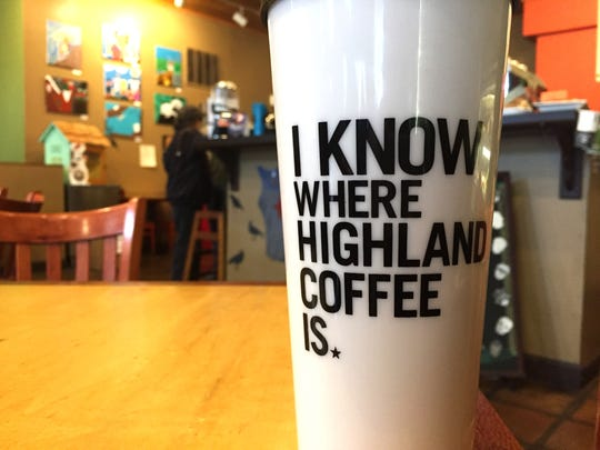 A mug for sale at Highland Coffee on Bardstown Road.