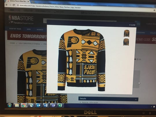 Show your blue collar, gold swagger with this sweater.