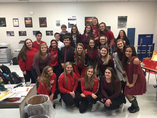 Lakeland High School students wear red to support the
