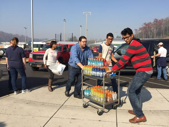 Drinks delivered for first responders outside of the Rocky Top Sports Complex on Tuesday, Nov. 29, 2016.