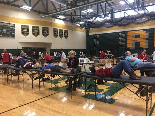 The Red Cross brought in 15 tables and extra technicians for the Friends of Werner Kleemann Blood Drive, which easily topped its goal of 100 units of blood collected in honor of the beloved Section V Hall of Fame coach.