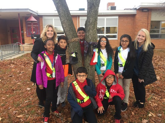 The Max Leuchter Elementary School safety patrol, with