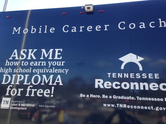 A Mobile Career Coach bus was stationed in the parking